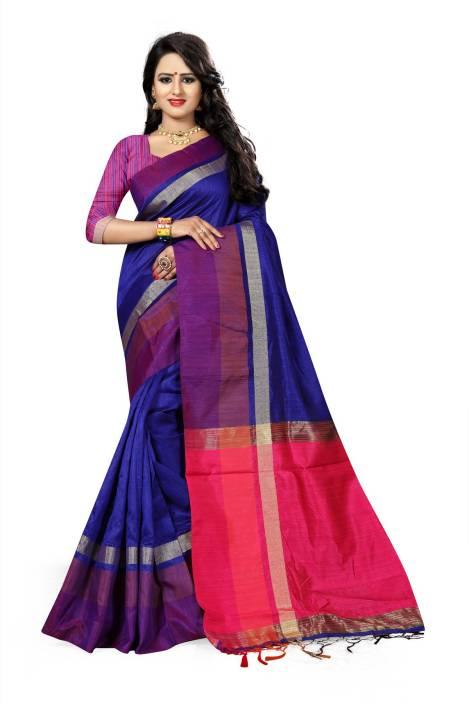 The Fashion Outlets Self Design, Plain Kanjivaram Cotton, Silk Saree