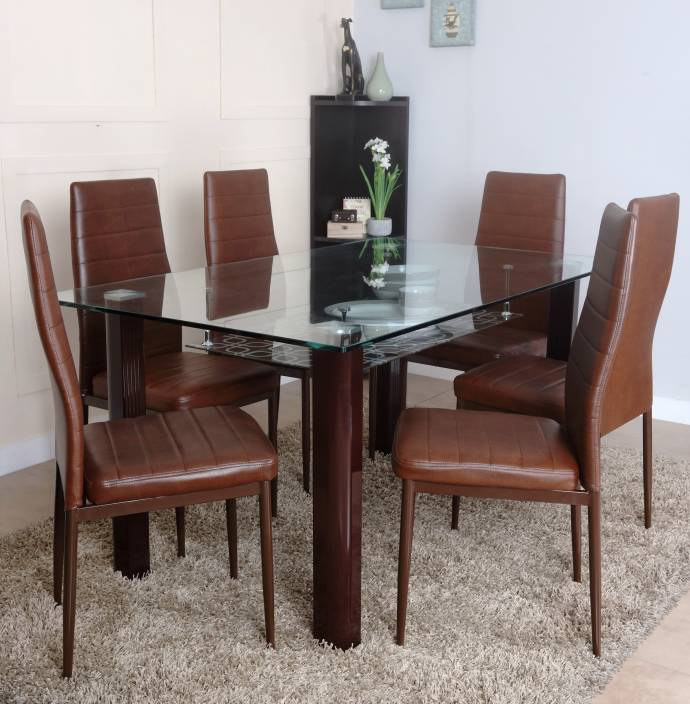 HomeTown Fieste Glass 6 Seater Dining Set Finish Color