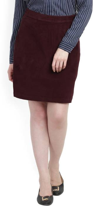 United Colors of Benetton Solid Women's Pencil Maroon Skirt