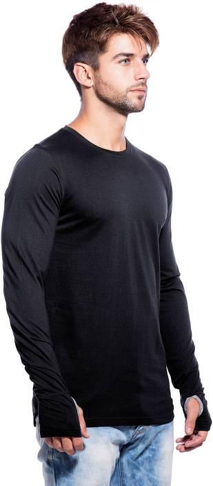 Maniac Solid Men's Round Neck Black T-Shirt