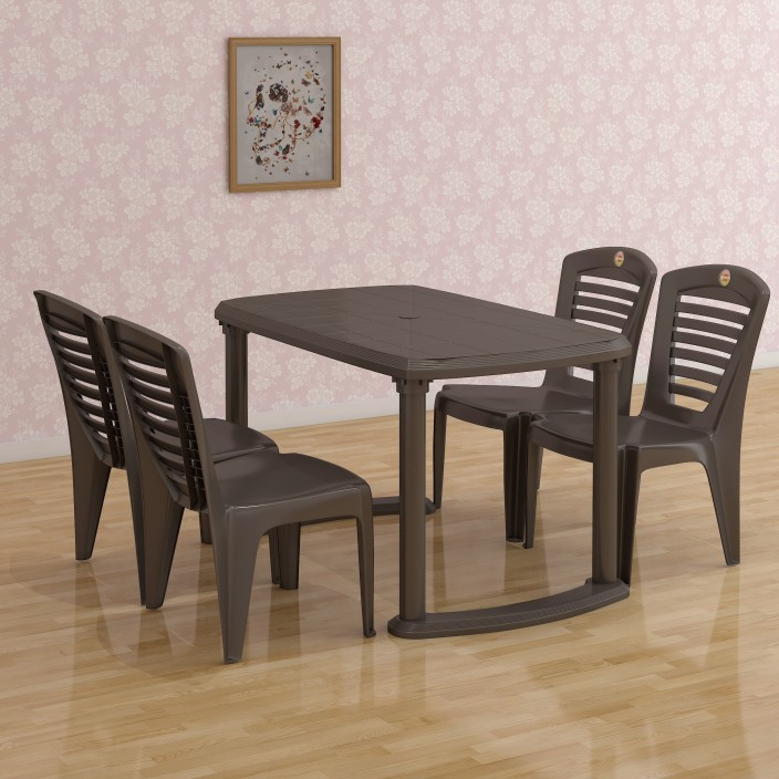 Captivating Cello Plastic 4 Seater Dining Set