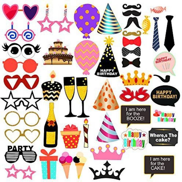 PARTY PROPZ PHOTOBOOTH PROPS PACK OF 50/HAPPY BIRTHDAY PARTY  DECORATION/HAPPY BIRTHDAY PARTY SUPPLIES Photo Booth Board