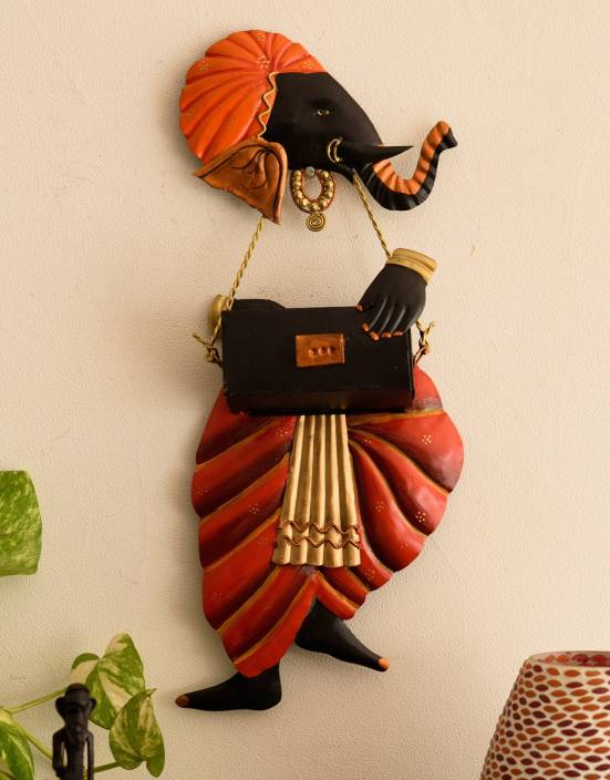 eCraftIndia Lord Ganesha playing Harmonium Wall Hanging Showpiece  -  44 cm