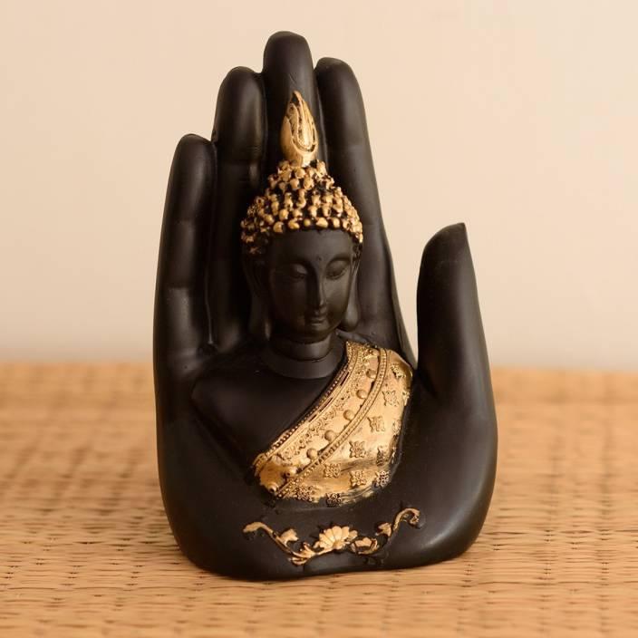 eCraftIndia Golden Handcrafted Buddha Palm Showpiece  -  18 cm