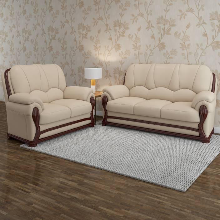 sofa set. Vintage Ivoria Fabric 3 + 2 MAHOGANY Sofa Set