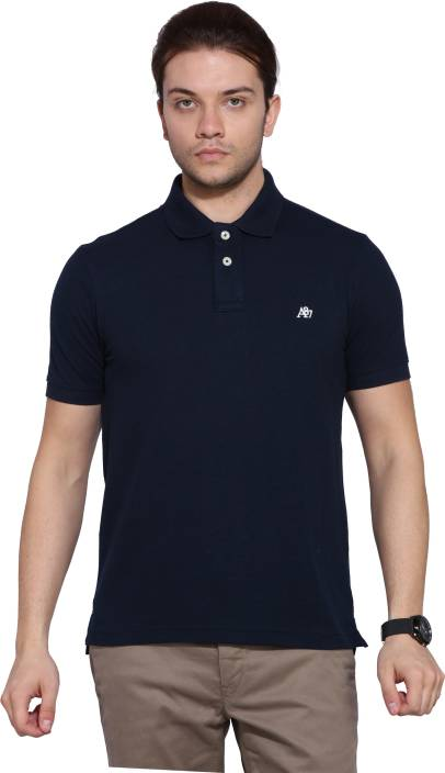 Aeropostale Solid Mens Polo Neck Dark Blue T-Shirt