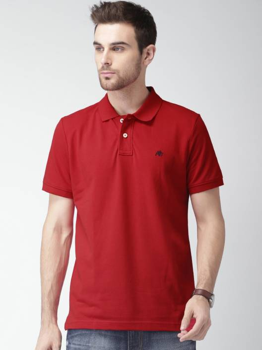 Aeropostale Solid Mens Polo Neck Red T-Shirt