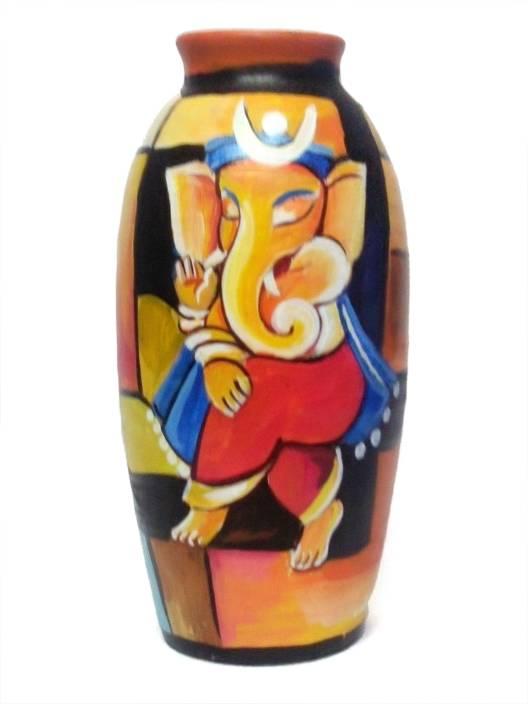 EVONICA Terracotta Hand Painted Terracotta Pot Flower Vase For Home