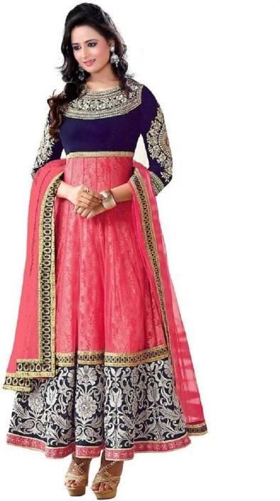 Vincitore Velvet Embroidered Semi-stitched Salwar Suit Dupatta Material