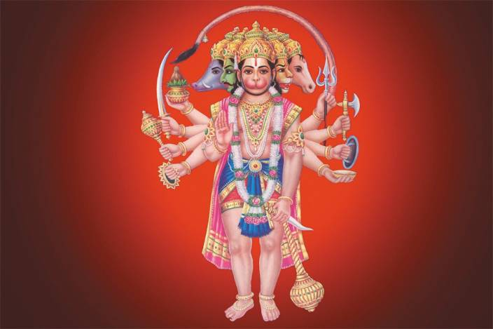 panchmukhi-hanuman-wallpaper poster paper print - decorative posters