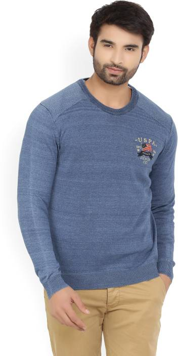 U.S. Polo Assn. Solid Crew Neck Casual Men's Blue Sweater
