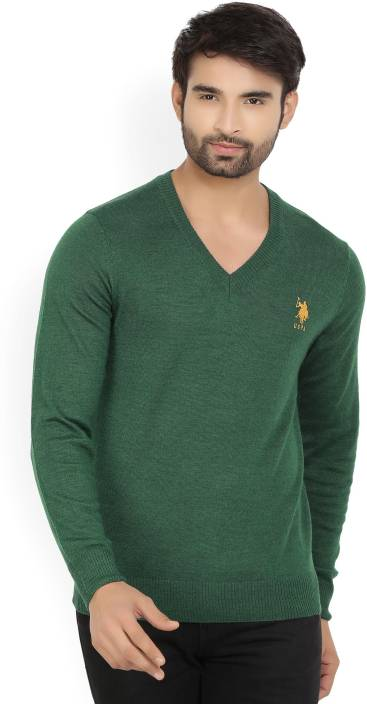 533d905218ce U.S. Polo Assn Solid V-neck Casual Men's Dark Green Sweater - Buy OLIVE  MELANGE U.S. Polo Assn Solid V-neck Casual Men's Dark Green Sweater Online  at Best ...