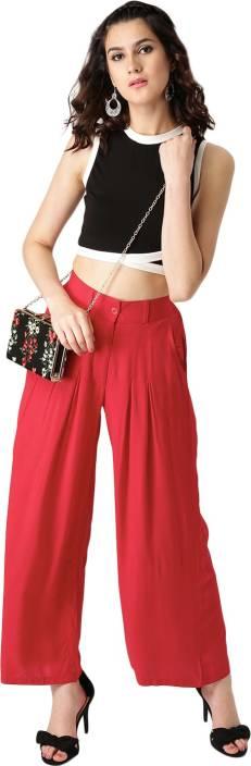 Libas Regular Fit Women's Red Trousers