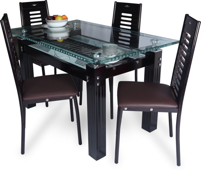 Attractive RoyalOak County Glass 4 Seater Dining Set