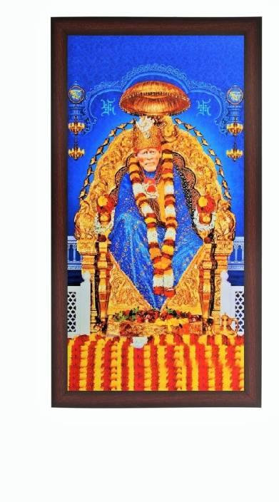 Sparkle Print Photo Of Shirdi Saibaba In Brown Wooden Frame
