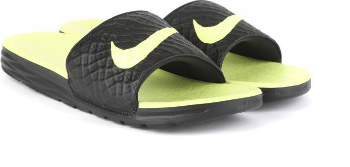 433cb4d67fc3 Nike BENASSI SOLARSOFT Slides - Buy BLACK VOLT Color Nike BENASSI SOLARSOFT  Slides Online at Best Price - Shop Online for Footwears in India
