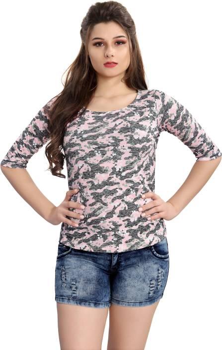 AV2 Casual Half Sleeve Printed Women Pink Top