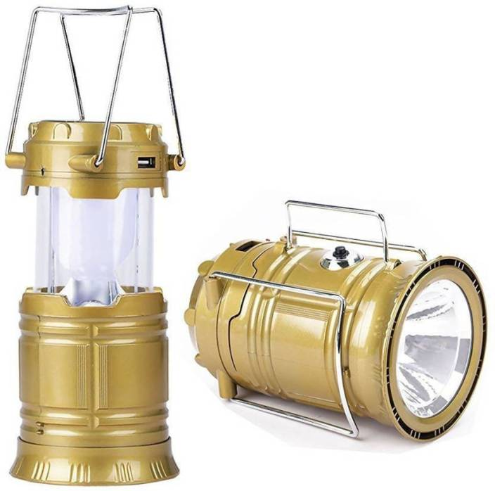 MM Solar Powered LED Rechargeable with three way power option - Solar Power or AABatteries or AC Power. Emergency Light Lamp Torch Gold Plastic Lantern