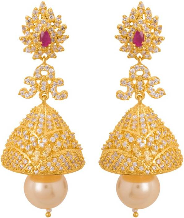 848497190 Flipkart.com - Buy Voylla Beautiful CZ Studded Ethnic Jhumka Earrings Pearl Brass  Jhumki Earring Online at Best Prices in India