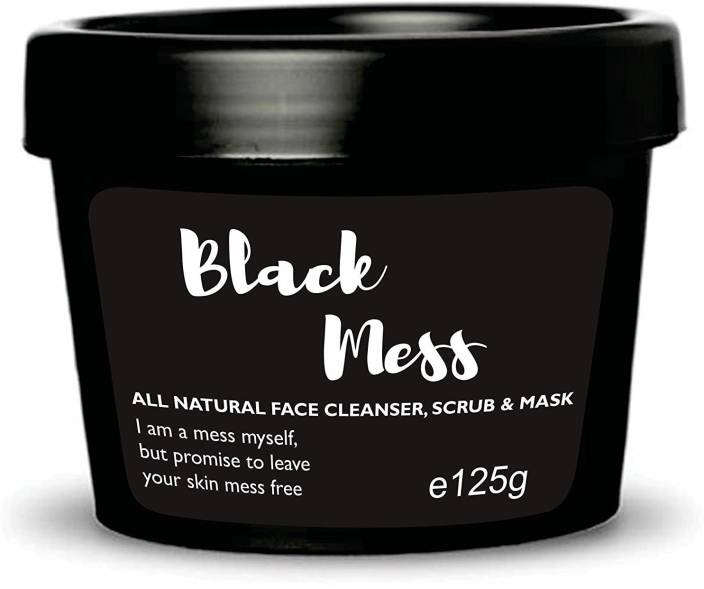 Ryaal Black Mess - Activated Charcoal Scrub Mask Cleanser - For Deep Cleansing & Exfoliation - Pore Minimizer & Reduces Wrinkles, Acne Scars & Anti Cellulite Treatment - Great Body Scrub & Facial Cleanser Scrub