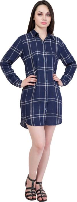 Hive91 Women Checkered Casual Blue Shirt
