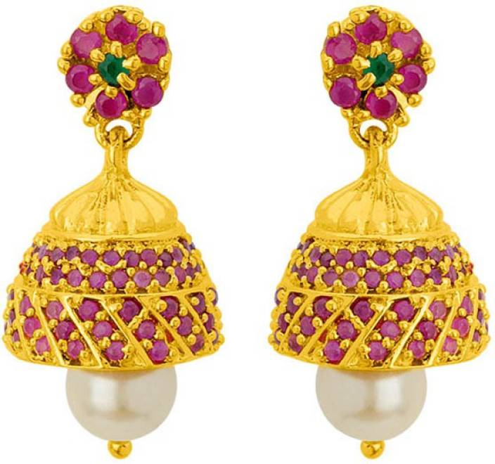 fd0b59c35 Flipkart.com - Buy Voylla Red Zircon Studded Jhumka Earrings Brass Jhumki  Earring Online at Best Prices in India