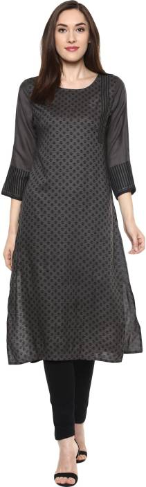Krapal Casual Printed Women Kurti  (Grey)
