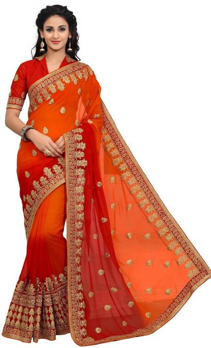 3b051888e6 Buy onlinefayda Embroidered Fashion Georgette Orange, Red Sarees ...