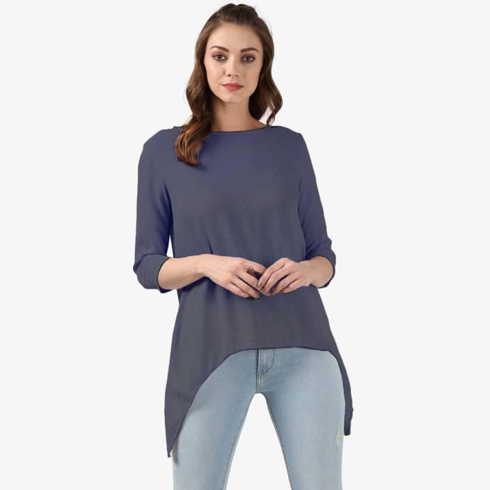 Ellemora Casual 3/4th Sleeve Solid Women Grey Top