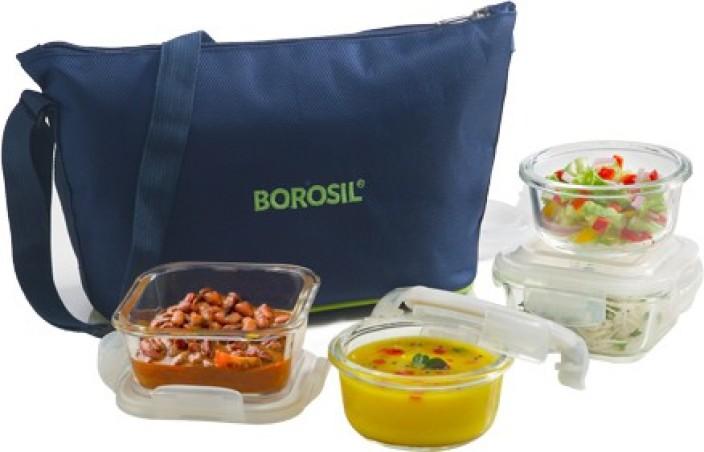 borosil klip n store glass daisy tiffin set of 42pc 320ml square 2pc
