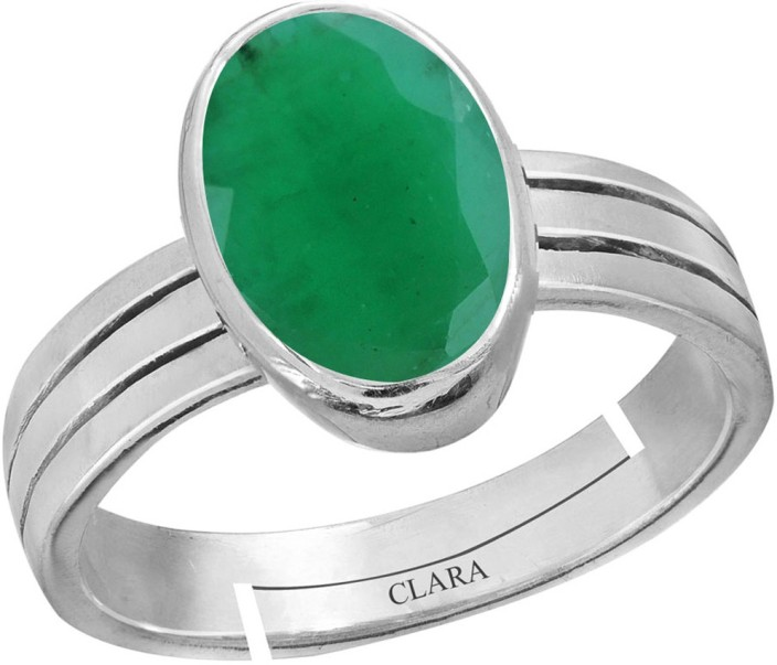 Single Stone Sterling Silver Emerald Ring 925 silver Real Emerald size 10