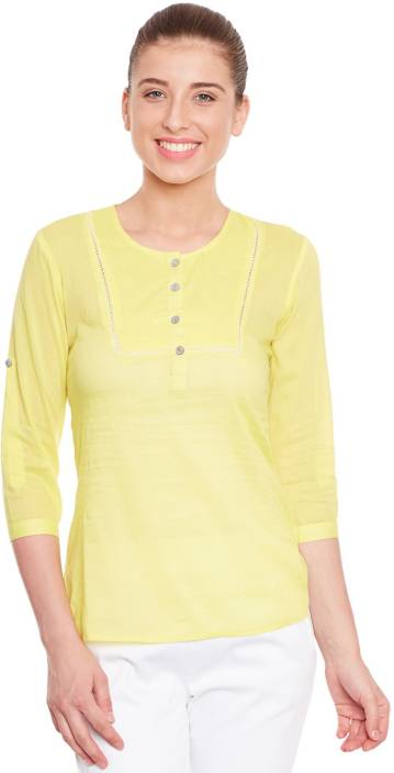 The Vanca Casual 3/4th Sleeve Solid Women Yellow Top
