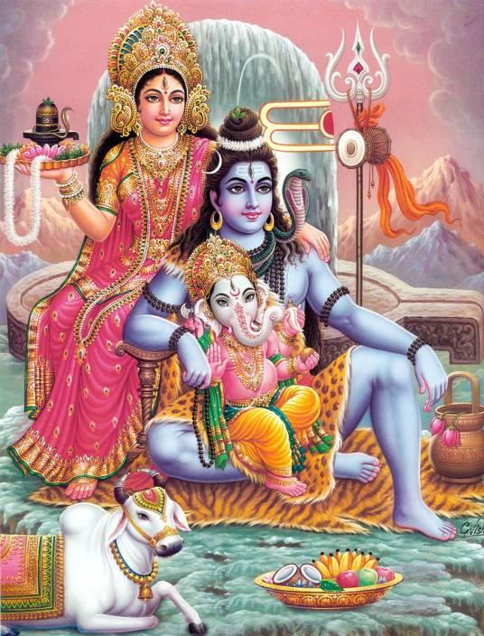 Gods Shiv Parvati Ganesh On Fine Art Paper Hd Quality Wallpaper