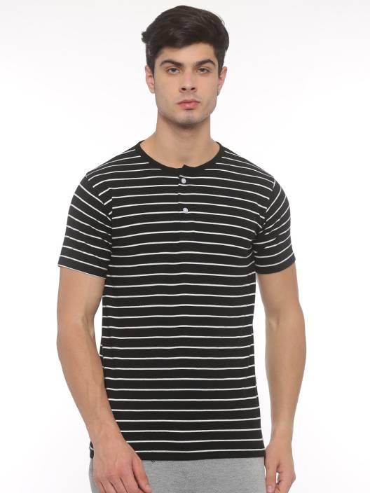 SayItLoud Solid Men's Henley Black, White T-Shirt