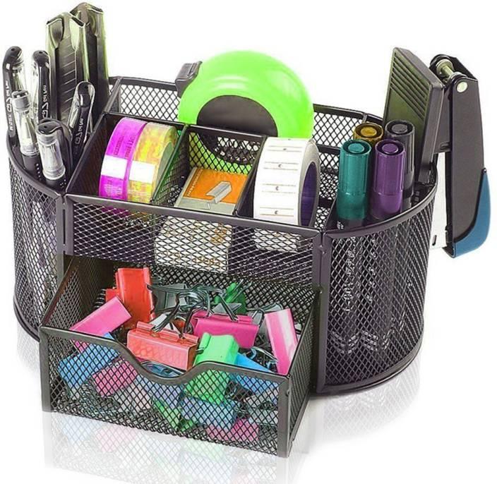 Tuelip 7 Compartments Metal Mesh Multi-Purpose Desktop Organizer Pen Stand Black