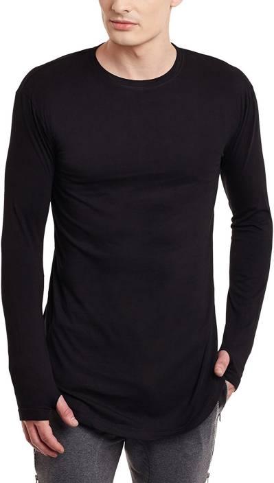 07eb4b0e3e4e PAUSE Solid Men Round Neck Black T-Shirt - Buy PAUSE Solid Men Round ...