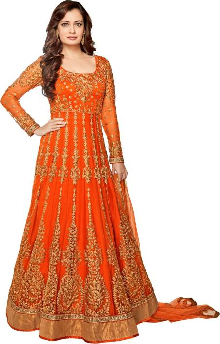 Style Amaze Net Embroidered Semi-stitched Salwar Suit Dupatta Material