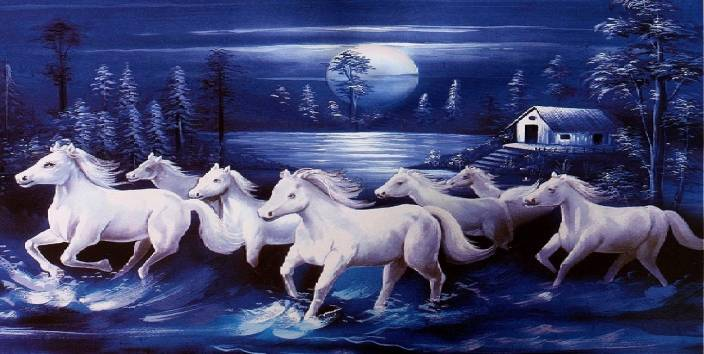 Vastu Sticker Poster White 7 Horse Running Vinayl Sticker Poster