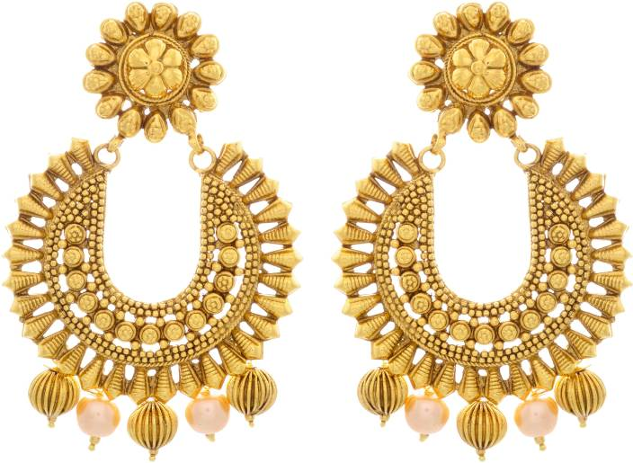 Flipkart Jfl Jewellery For Less Traditional Ethnic One Gram Gold Plated Designer Chand Bali Earrings Pearl Copper Chandbali Earring Online At Best