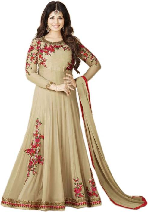 Bipolar Life Georgette Embroidered, Self Design Semi-stitched Salwar Suit Dupatta Material
