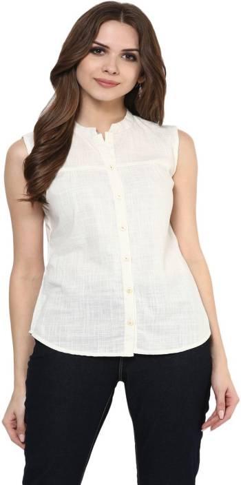 Krapal Women Solid Casual White Shirt