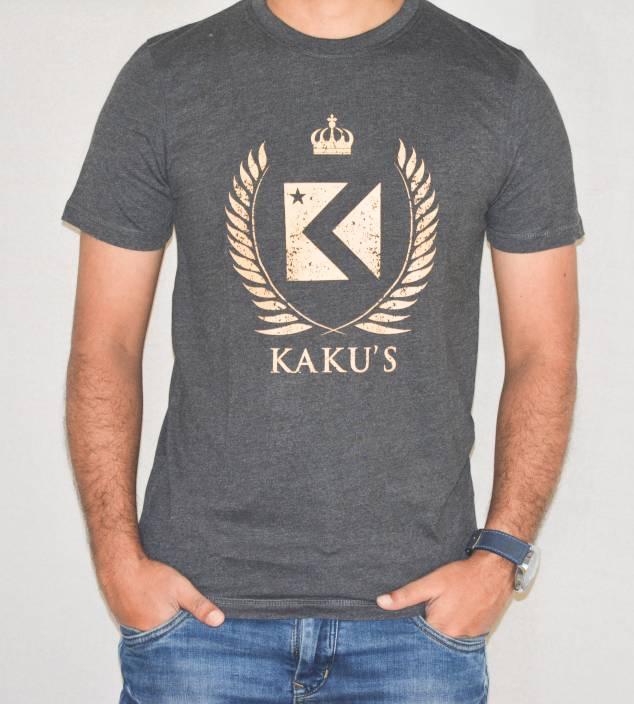 Kakus Collection Printed Men's Round Neck Grey T-Shirt