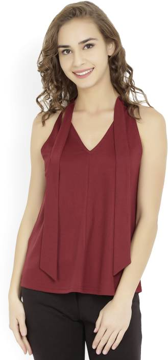 United Colors of Benetton Casual Sleeveless Solid Women's Maroon Top