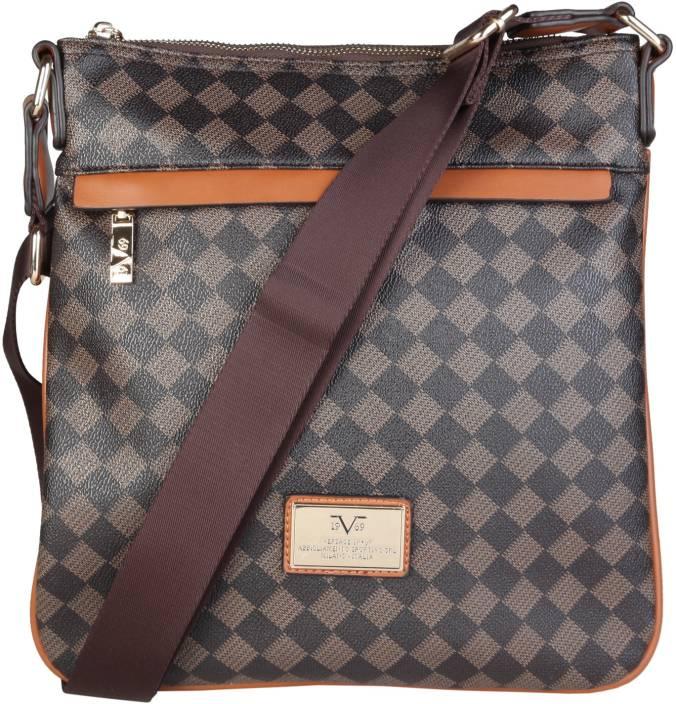 6579135598 Versace 19.69 Italia Men Casual Brown Canvas Sling Bag MARR-BEIGE ...