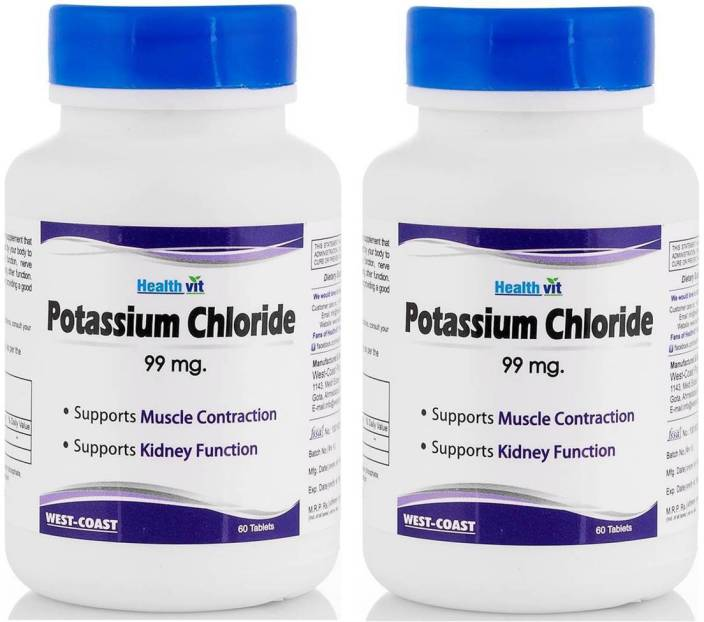 HealthVit Potassium Chloride 99mg 60 Tablets (Pack of 4)