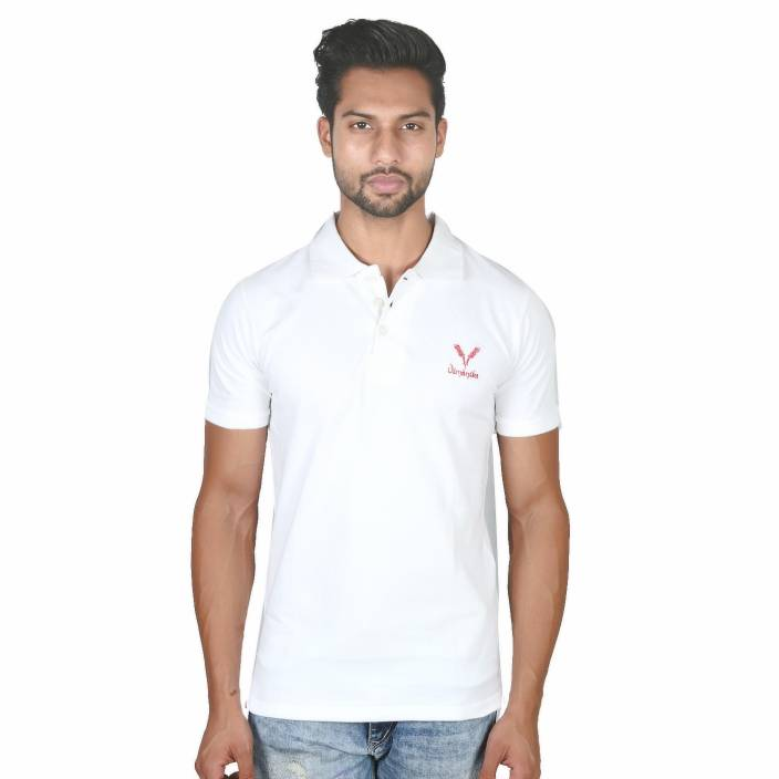 vimanika Solid Men's Polo Neck White T-Shirt