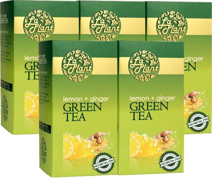 LaPlant Lemon and Ginger - 125 Bags (Pack of 5) Lemon, Ginger Green Tea