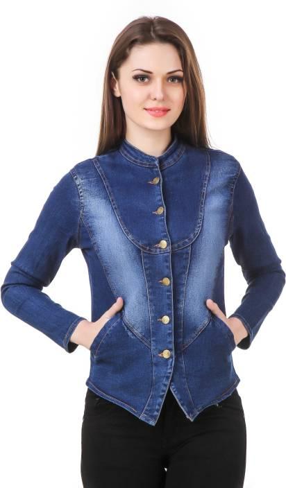 e137c750363 Clo Clu Full Sleeve Self Design Women Denim Jacket - Buy Denim Blue Clo Clu  Full Sleeve Self Design Women Denim Jacket Online at Best Prices in India  ...
