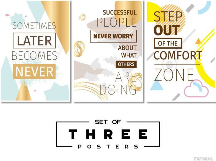 Inspirational Posters For Students And Office Study Room Decor - Combo of 3 Large Motivational Quotes Q7 Paper Print