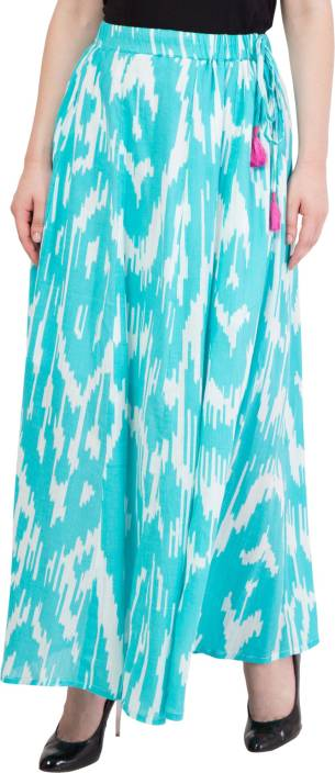 Hive91 Printed Women A-line Blue Skirt